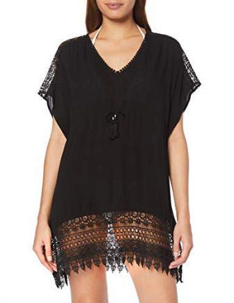New Look Damen Strandkleid Strandkleid Crochet Insert Kaftan (6275026), Schwarz (Black 1),...