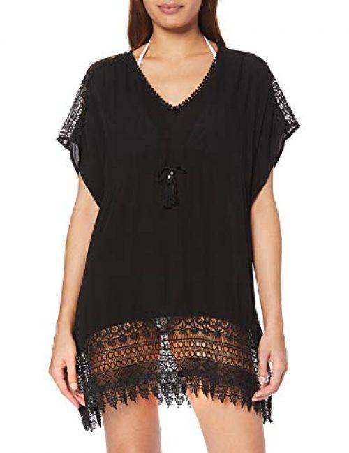 New Look Damen Strandkleid Strandkleid Crochet Insert Kaftan (6275026), Schwarz (Black 1), S (Herstellergröße: S)