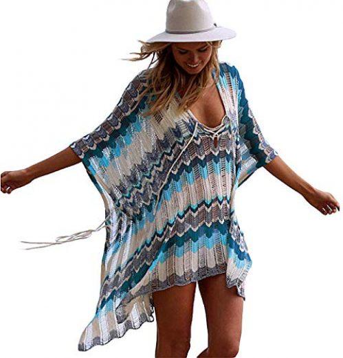 SHEKINI Damen Sommer Boho Strandponcho Quaste Asymmetrisch Lang Strandkleid Crochet Gestrickt Spitze Pareos (Medium, See blau)