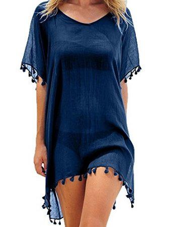 Tkiames Damen Strandkleid Bikini Cover Up Sommer Bademode Stricken Beach Kleider (Einheitsgröße,...