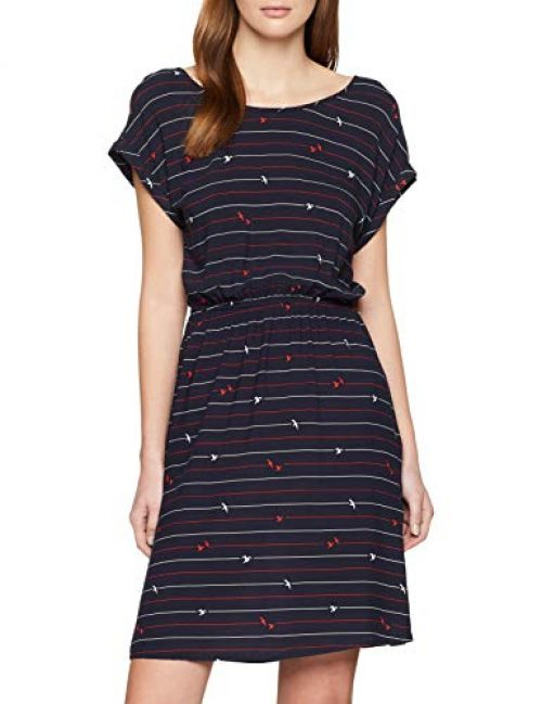 TOM TAILOR Denim Damen 1008140 Kleid, Mehrfarbig (Stripe and Seagull P 15559), Medium (Herstellergröße: M)