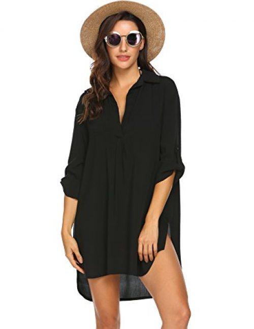 UNibelle Damen Strandkleid Button Transluzent Strand Bikini Cover Up Sommerkleid
