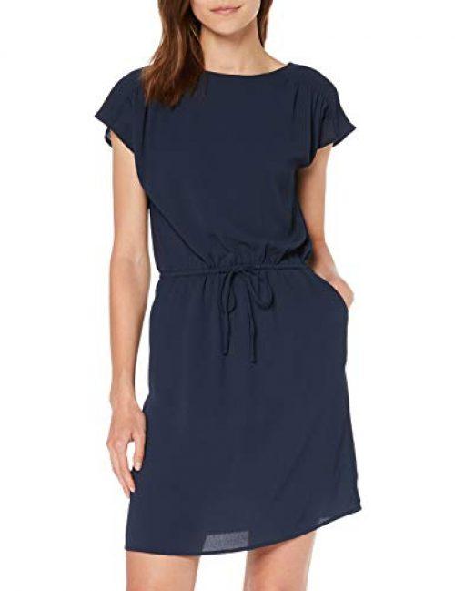 Vero Moda NOS Damen VMSASHA Bali S/S Short Dress Color Kleid, Blau (Navy Blazer), 38 (Herstellergröße: M)