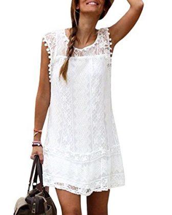YOINS Sommerkleid Damen Kleider A-Linie Loose Elegant Spitzekleid Minikleid, Weiß, Strandkleider
