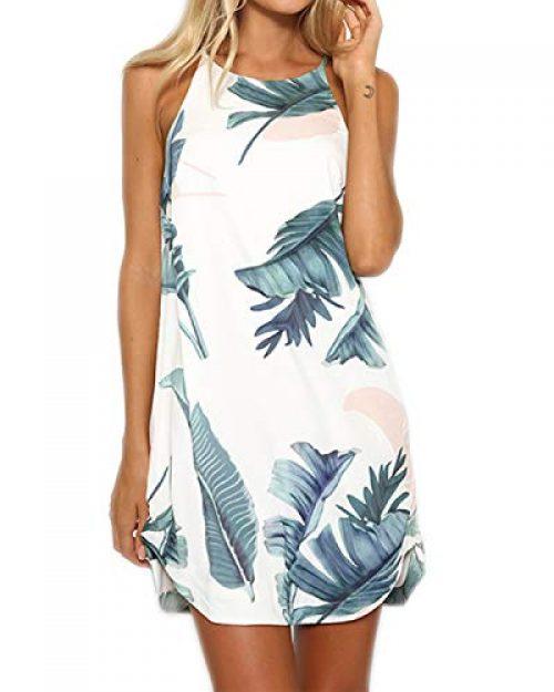 YOINS Strandkleider Damen Sommer Casual Sommerkleid Damen Kurz Strand Schulterfrei Elegant Kleider Ärmellos Minikleider