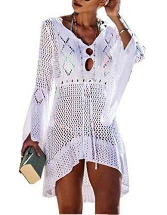 ZIYYOOHY Elegant Crochet Stricken Bikini Cover Up Boho Strandponcho Strandkleid Strandkleider